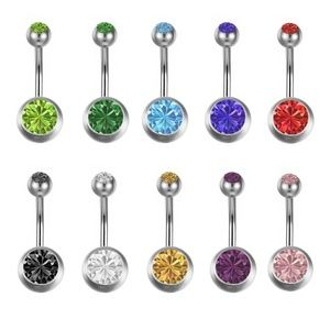 Lot of 3 Crystal Stainless Belly Rings Piercing